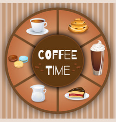 with coffee drinks decorative elements and vector image
