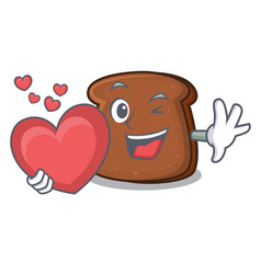 With heart brown bread mascot cartoon vector