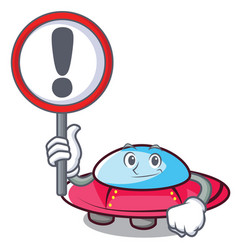 with sign ufo character cartoon style vector image