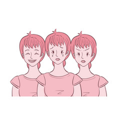 Woman shown in different moods vector