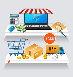 concept online shopping on laptop vector image