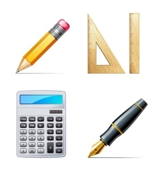 Education icons Pencil pen calculator ruler vector image vector image