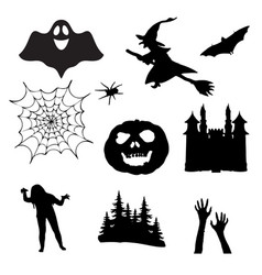 halloween icons set of silhouettes for halloween vector image vector image