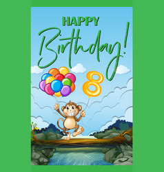 happy birthday card for eight year old vector image vector image