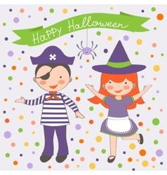 Happy Halloween kids couple vector image vector image