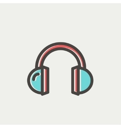 Headphone thin line icon vector image vector image