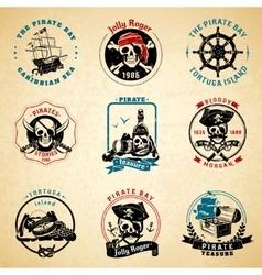 Pirate emblems vintage old paper set vector image