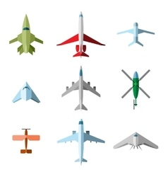 Set of flat airplane vector image