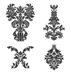 Set of ornamental damask elements vector image