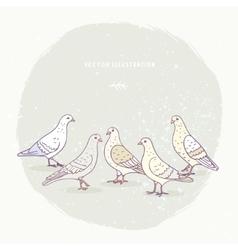 cute pigeons set vector image
