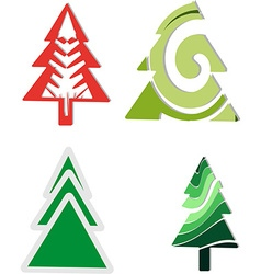 Icons four Christmas trees vector image vector image