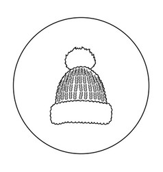 knit cap icon in outline style isolated on white vector image vector image