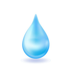 realistic blue water drop 3d icon droplet falls vector image