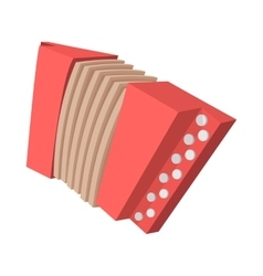 Red retro accordion cartoon icon vector