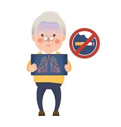 Senior man having lung problem and no smoking sign vector