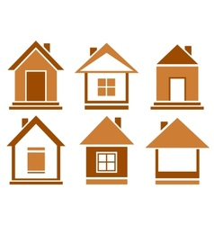 set brown isolated house vector image