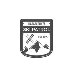 Ski Patrol Label Vintage Mountain adventure vector image vector image