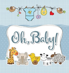baby boy shower card with animals vector image vector image