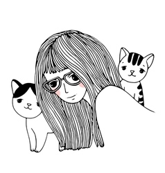 Beautiful young girl and a cute little cats vector