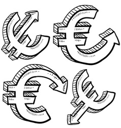 doodle currency up down euro vector image vector image