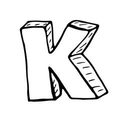 English alphabet - hand drawn letter K vector image vector image