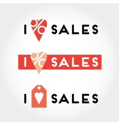I love sales signs and symbols set for retail vector image vector image