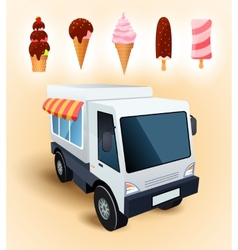 Ice cream truck vector image vector image