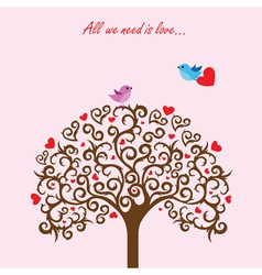 Love tree and birds in love vector image vector image
