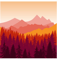 panorama of mountains and forest silhouette vector image