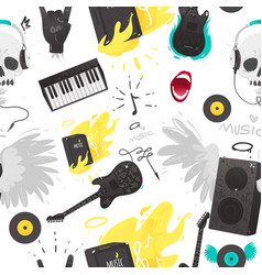 rock music stuff and musical instruments seamless vector image