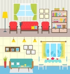 Set Home Interiors Design of Living Rooms vector image