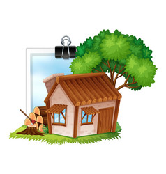 wooden cottage on photoframe vector image vector image