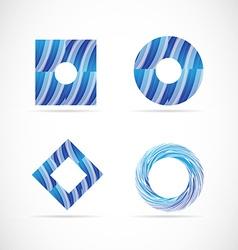 Blue logo elements icon set vector image