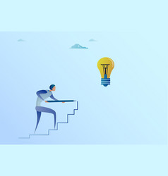 business man drawing on stairs up to light bulb vector image