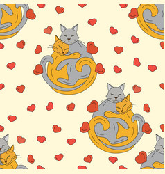cats hugging each other vector image vector image