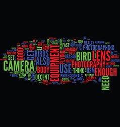 equipment needed for bird photography text vector image vector image