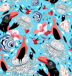 floral pattern with birds vector image vector image