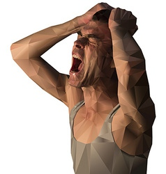 Frustrated man scream design with polygons vector image vector image
