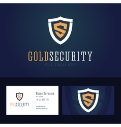 Gold security logo and business card template vector image vector image