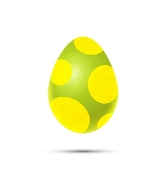 Green easter egg with yellow dots on white vector image