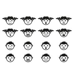 Kid child and baby faces avatars symbols set vector image