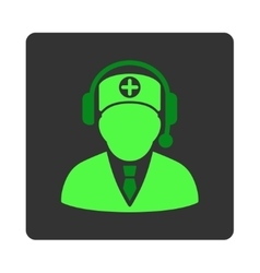Medical Operator Flat Button vector image
