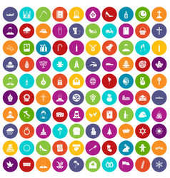 100 church icons set color vector