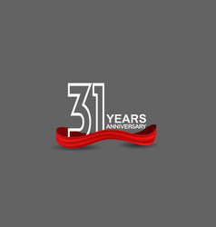 31 years anniversary line style white color vector