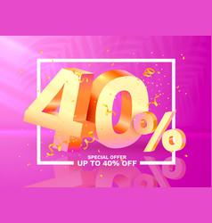 40 off discount creative composition 3d golden vector