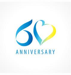 60 anniversary logo heart vector
