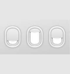 airplane windows aircraft interior with vector image
