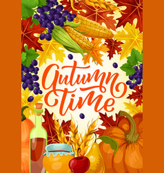 Autumn time harvest fest poster vector