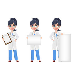 beautiful cartoon character medic set vector image