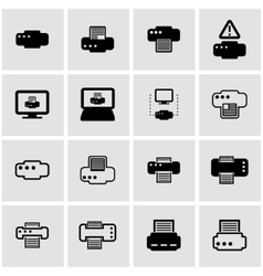 black printer icon set vector image